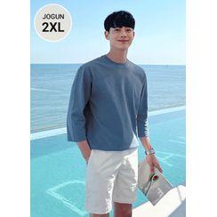 JOGUNSHOP - 3/4-Sleeve Cotton T-Shirt