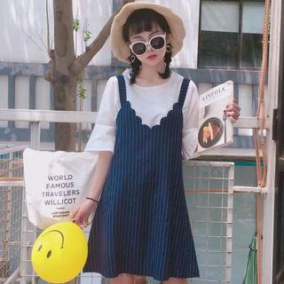 Hasna - 套装: 中袖T裇 + 条纹迷你A字背带裙