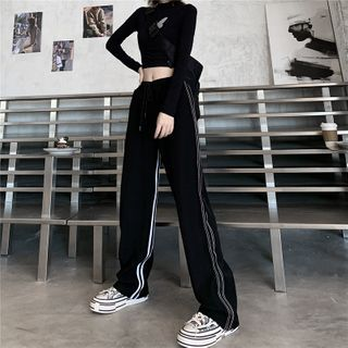LINSI - Striped Wide-Leg Sweatpants