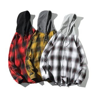 Sheck - Long-Sleeve Plaid Buttoned Hooded Top