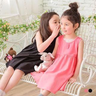 OrangeBear - Kids Fake 2-Piece Lace Inner Sleeveless Dress