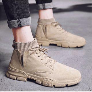 Viffara(ヴィファラ) - Knit Panel Lace-Up Ankle Boots
