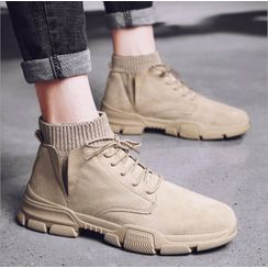 Viffara - Knit Panel Lace-Up Ankle Boots
