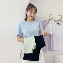 HOTPING - Round-Neck Plain T-Shirt