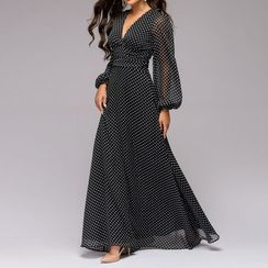 Sweet Amour - Dotted Long-Sleeve Maxi A-Line Dress