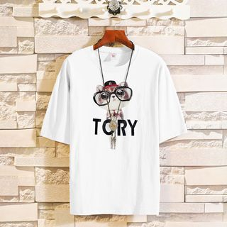 NANON - 短袖猫猫印花T裇