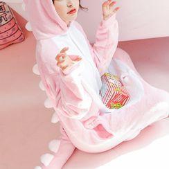 PinkPond - 长袖连帽抓毛动物连身衣