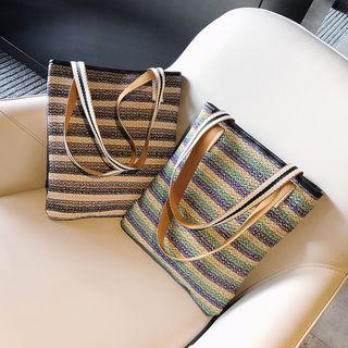 Auree - Striped Woven Tote Bag