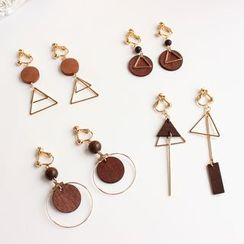 Joodii(ジューディー) - Geometric Wooden Earring (Various Designs)
