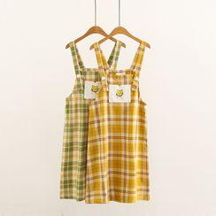Mori Girls - Cat Embroidered Plaid Mini Pinafore Dress
