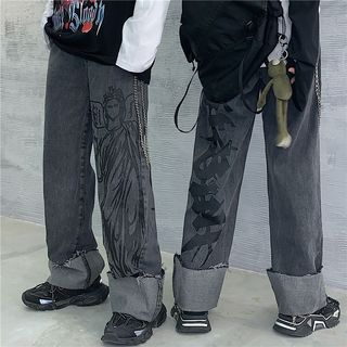 Banash - Couple Matching Printed Straight-Cut Jeans