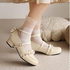 Lolita Tree - 粗跟荷叶边蝴蝶结玛丽珍鞋
