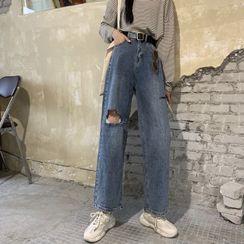 Rhodo - 做旧宽腿牛仔裤