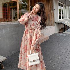 Sienne - Floral Print Long-Sleeve A-Line Midi Chiffon Dress