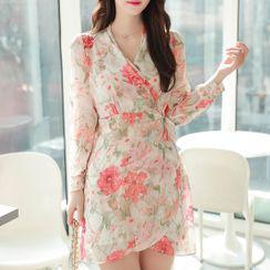 MyFiona - Tie-Waist Floral Chiffon Wrap Dress