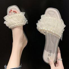 Weiya - 珠飾網紗多層拖鞋