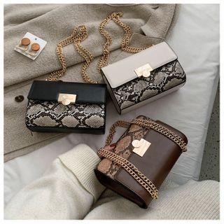 Shinian - Python Print Faux Leather Shoulder Bag