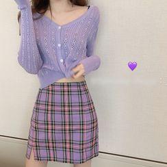 Shopherd - Pointelle Knit Cropped Cardigan / Plaid Mini A-Line Skirt