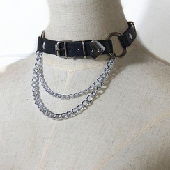 SURELIN - Faux Leather Chained Layered Choker