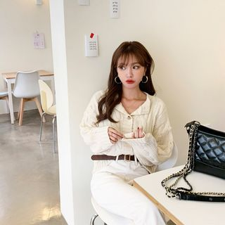 PPGIRL - Round-Neck Cable-Knit Cardigan