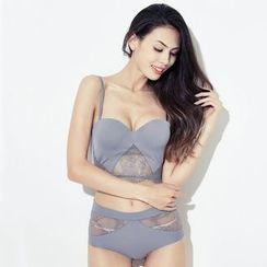 So Bliss - Set: Lace Panel Bra Top + Panty