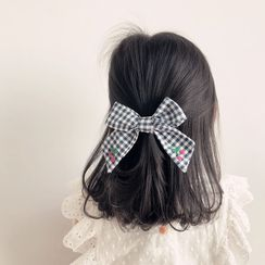 Sweet la Vie - Kids Cherry Applique Gingham Bow Hair Clip