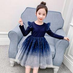 Qin Qin - 小童渐变色长袖A字网纱连衣裙