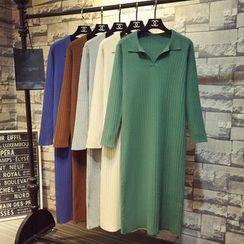 ZELE - Collared Long-Sleeve Knit Dress