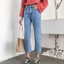 Onnell - High Rise Straight-Legged Cropped Jeans