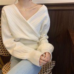 Mikiko - V-Neck Wrap Ribbed Sweater