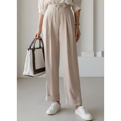 Styleonme - Button-Detail Roll-Up Wide-Leg Pants