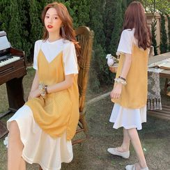 Gypso - Maternity Set: Short-Sleeve T-Shirt Dress + Spaghetti Strap Dotted Top
