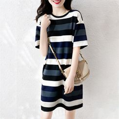 Elbelier(エルベリア) - Short-Sleeve Striped Midi Shift T-Shirt Dress