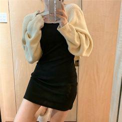 Alfie - Plain Slim-Fit Tank Dress / Long-Sleeve Knit Shawl