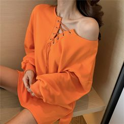OUREA - Lace-Up Long-Sleeve Loose-Fit Pullover