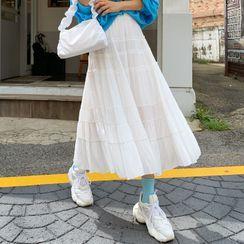 DEEPNY - Frill-Trim Long Tiered Skirt