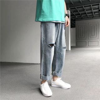EOW - Frayed Hem Ripped Straight Fit Jeans