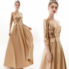 Sennyo - 3/4 Sleeve Satin Panel Sequined A-Line Evening Gown