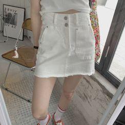 Maisee - Denim Mini Straight-Fit Skirt