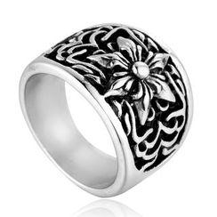 Sigil - Stainless Steel Embossed Flower Ring