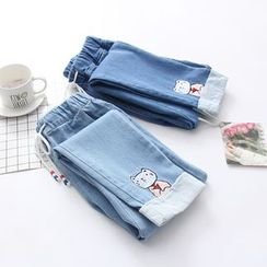 PANDAGO - Cat Embroidery Baggy Jeans