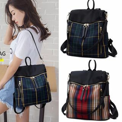 Denyard - Plaid Zipper Backpack