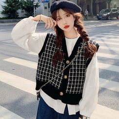 Duwnie - Button-Up Balloon-Sleeve Blouse / Patterned Button-Up Knit Vest
