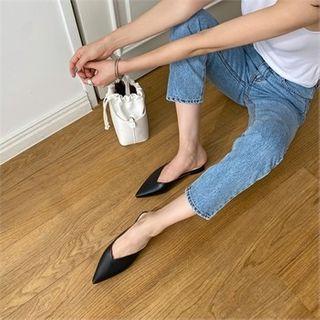 MONOBARBI - Pointy-Toe Block-Heel Mules in 2 Types