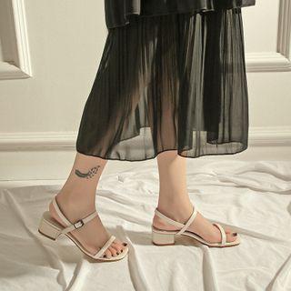 TEAHOO - 粗跟踝帶涼鞋