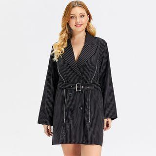 Sunme - Plus Size Double Breasted Striped Mini A-Line Coat Dress