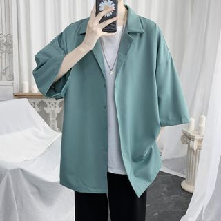 Posive - Elbow-Sleeve Plain Shirt
