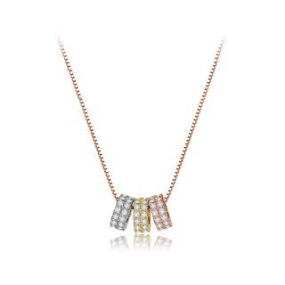 BELEC - Simple and Fashion Plated Rose Gold Three-color Circle Necklace with Cubic Zirconia