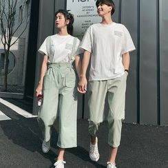 Azure(アズール) - Couple Matching Short-Sleeve Letter T-Shirt / Cropped Pants / Wide-Leg Suspender Pants