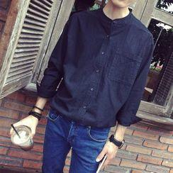 Acrius(アクリウス) - Stand Collar Long Sleeve Shirt